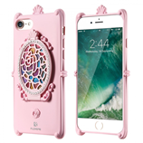 Floveme Luxury Pink Diamonds Back Mirror iPhone Case